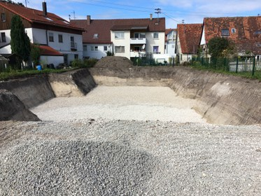 Baugrube Mehrfamilienhaus Geislingen